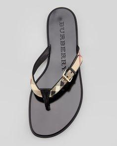 Burberry Check Leather Flip-Flop, Black - Neiman Marcus