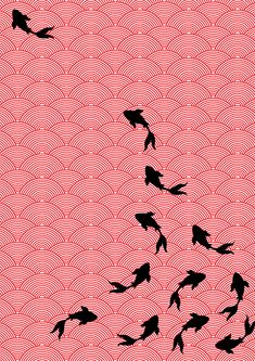 Asian style fabric design- Koi motif by Choomi Kim.    I love the koi design; it would be great as a tattoo