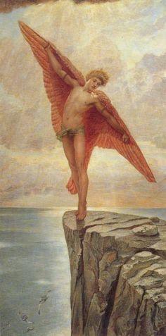 William Blake (1757– 1827) : Icare. Icare est le fils de l'rchitecte athénien Dédale et d'une esclave crétoise. Il est mort aprs avoir volé trop près du soleil alors qu'il s'échappait du labyrinthe avec des ailes de cire créées par son père.