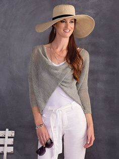 "Here's a trendy top - with a twist! Knitted in fingering-weight yarn with oversized needles, it's the perfect weight for year-round wear! Knit with 2 (3, 3, 3, 3) skeins #1 fingering-weight Berroco Ultra Alpaca Fine using U.S. size 7/4.5mm 32"" c..."