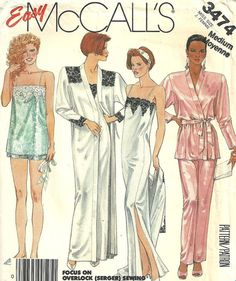 McCalls 3474 / Vintage Lingerie Sewing Pattern / Camisole Slip Gown Pajamas Robe Nightgown / Size Medium