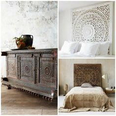 The-Gorgeous-Woodworking-Patterns-of-India-Carved-Wood-Panel-Headboard and Door Shutters - Paint + Pattern