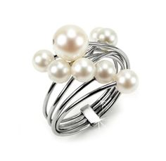 Innovative Cluster Ring with Cultured White Pearls. High polished Stainless Steel Wires with 5mm & 7 mm Pearls