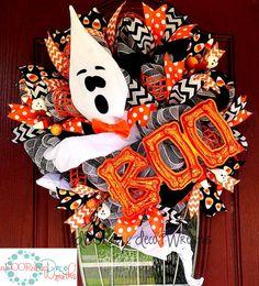 Halloween Ghost Wreath by aDOORable Deco Wreaths. Visit my Facebook page: www.facebook.com/ADOORableDecoWreaths