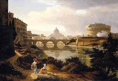 Rome, a view of the river Tiber looking south with the Castel Sant'Angelo and Saint Peter's Basilica beyond by Rudolf Wiegmann 1834 - Roma - Wikipedia Popular Paintings, Most Famous Paintings, Old Paintings, Landscape Paintings, City Landscape, Chateau Saint Ange, Rome Painting, Francesco Guardi, Still Life Artists