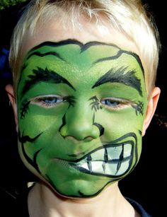 Check Out 17 Cool Kids Halloween Makeup Ideas. All children love to dress up in their favorite characters, and there is no better time doing so than of course Halloween. Halloween Makeup For Kids, Scary Halloween, Fete Halloween, Halloween Photos, Costume Halloween, Hulk Face Painting, Face Paintings, Body Painting, Creepy Kids