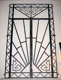 Art deco wrought iron double entry door, 1930's.