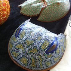 Decorated horseshoe crab shell