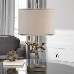 "Uttermost, Table & Task Lamps, Leova Table Lamp, Metal, Fabric, Bronze, Beige 26"" $204"