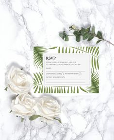 Beautifully designed botanical style Wedding RSVP with a contemporary layout and stylish fonts.