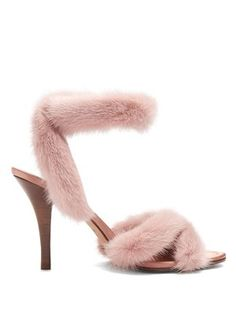 "Valentino | Autumn/Winter 2017 | ""Fur-trimmed sandals"" with mink-pink mink-fur trim, open toe, ankle strap, dusty-pink satin insole and high wooden stiletto heel 