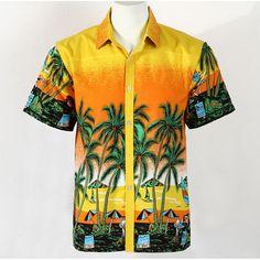 Hot Men Aloha Shirt Hawaiian Cruise Tropical Luau Beach Hawaiian Party Palm Gradient orange L normal version