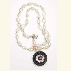 Arzouman Luxe Ruby and White Topaz Necklace on Silk with Pearls
