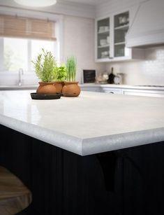 White-Laminate countertops that resemble stone. Kitchen Redo, New Kitchen, Kitchen Dining, Kitchen Remodel, Kitchen Ideas, Kitchen Facelift, Kitchen Shop, Kitchen Counters, Island Kitchen
