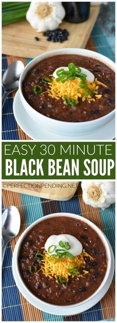 This healthy and easy black bean soup is gluten free, and full of flavor. It's the perfect, quick 30 minute recipe you can cook up at the last minute. This kid-friendly meal is one you'll cook over an (Bean Soup Recipes) Easy Black Bean Soup, Recipe For Black Bean Soup, Black Bean Chili Recipe Vegetarian, Black Beans Recipe Easy, Rice And Beans Recipe, Black Bean Stew, Bean And Bacon Soup, Comida Latina, Cooking Recipes