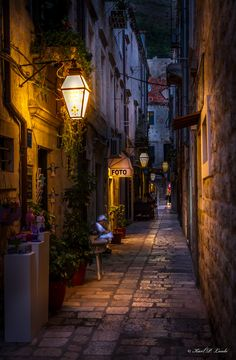 Twilight at narrow street, Dubrovnik, Croatia