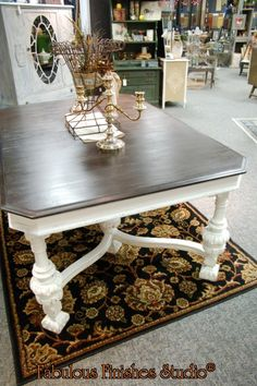 chalk and clay paint, jacobean table, wood top, fabulous finishes studio, for sale