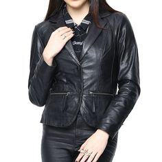 Leather Bomber Biker Jacket For Women'S Black/Red/Brown Leather Jackets Online, Blazer And Shorts, Lambskin Leather Jacket, Fall Outfits, Jackets For Women, Black Leather, Womens Fashion, Stuff To Buy, Clothes