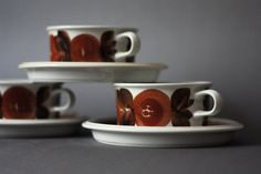 Arabia Finland Set of 3 Tea cups and Saucers Rosmarin. via Etsy. Vintage Ceramic, Kitchen Utensils, Cup And Saucer, Finland, Tea Cups, Ceramics, Tableware, Unique Jewelry, Handmade Gifts