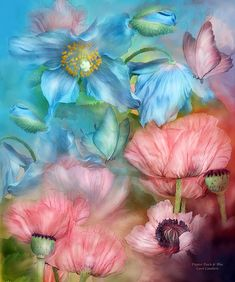 Poppies Peach & Blue by Carol Cavalaris. Prints available at Fine Art America. Poppies, peach and blue, with a matching butterfly, or two, every blossom grown with love, just for you. This poppy painting is from the Language Of Flowers collection of original floral art by Carol Cavalaris. Makes a lovely print or greeting card.