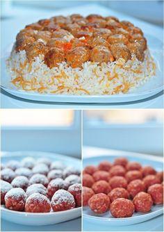 Turkish sofra (cuisine): Ali Paşa pilav/rice (Turkish rice with meatballs) Köfteli Pilav - Hayat Cafe Kolay Yemek Tarifleri Meat Recipes, Sandwich Recipes, Seafood Recipes, Cooking Recipes, Meatball Recipes, Rice Recipes, Iftar, Turkish Rice, Good Food