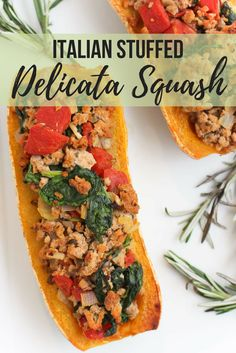 Take advantage of peak squash season. Try this Italian Stuffed Delicata Squash recipe for a simple dinner solution. Good Healthy Recipes, Healthy Foods To Eat, Veggie Recipes, Fall Recipes, Healthy Dinner Recipes, Beef Recipes, Real Food Recipes, Skinny Recipes, Healthy Dinners