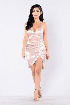 - Available in Rose Gold - Satin Basic Dress - Adjustable Straps - Slit on Side of Dress - V-Neck - 97% Polyester 3% Spandex