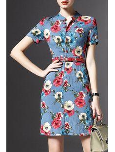 Stand Neck Short Sleeve Floral Print Linen Dress #womensfashion #pinterestfashion #buy #fun#fashion