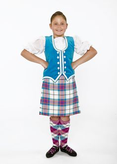 Dress Allendale tartan, turquoise waistcoat with silver trim and buttons and alternate marl hose.