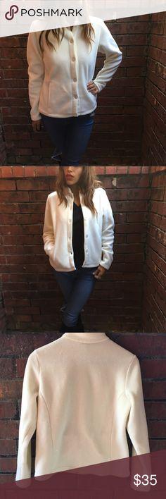 L.L. Bean Cream Fleece Button Up Jacket size Small Underarm: 40' Length: 24' Sleeve: 24'  98%polyester 2%lycra spandex L.L. Bean Jackets & Coats