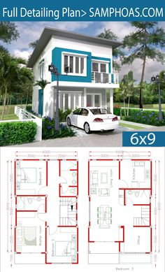 Simple Home Design Plan with 3 Bedrooms - SamPhoas Plan - House Architecture House Layout Plans, Duplex House Plans, Dream House Plans, House Layouts, Small House Floor Plans, Home Design Floor Plans, Modern House Plans, Simple House Design, House Front Design