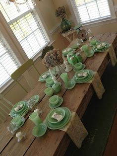 Uhhh farmhouse style table and jadeite dishes??? Pretty much my dream...
