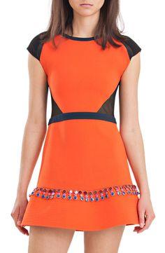 cynthia rowley - Silk and Wool Flounce Dress in Orange