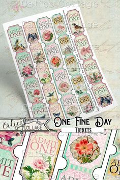 Printable Digital Collage Sheets with vintage styled tickets. Perfect for Junk Journal Embellishments, Scrapbooking, Bullet Journals, Glue Books and so much more! The possibilities are endless! Glue Book, Printed Pages, Mixed Media Artists, Bullet Journals, Digital Collage, Collage Sheet, Junk Journal, Ephemera, Embellishments
