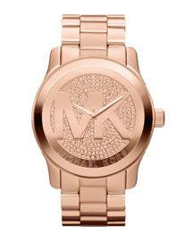 I WAAANNNNTTTT!!!!  Y18FT Michael Kors Oversized Rose Golden Stainless Steel Runway Three-Hand Glitz Watch