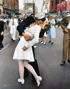 VJ Day Kiss in Times Square 1945  Colorized by BJPhotoPrints