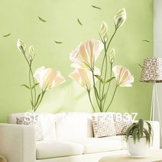 New Arrival !140*120 High Quality Lily Flower Wall stickers Romatic TV Brackground Removable Vinyl Stickers For Home Decoration-in Wall Stic...
