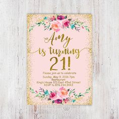 Birthday Floral, Pink and gold 21st birthday invitation, blush pink gold glitter…