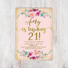 Birthday Floral, Pink and gold 21st birthday invitation, blush pink gold glitter…