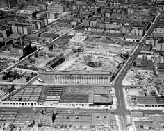 An aerial view shows Ebbets Field during its demolition in 1960. The old Brooklyn ballpark was home to the Brooklyn Dodgers.
