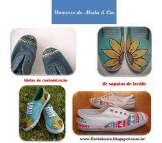 Ideias de customização de sapatos de tecido para inspirar, no blog Universo da Moda & Cia.