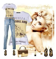 """Statement T-shirt"" by kim-zandvoort ❤ liked on Polyvore featuring Dolce&Gabbana and statementtshirt"
