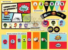 """Cumpleaños Nro 6 Thiago, Temática: """"Superheroes"""": diseño de tarjeta de invitación, envoltorios para golosinas, banderines, círculos multiusos, tarjetines para souvenirs, wrappers y etiquetas para botellas."""