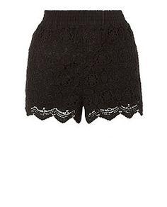 Black Scallop Hem Crochet Shorts  | New Look