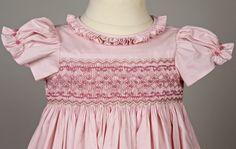 Robe bébé Amandine smockée Penelope en vieux rose