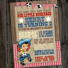 Little Vintage Retro Western Cowboy Printable Birthday Party Invitation on Etsy, $15.00