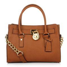 Michael Kors Tasche – Hamilton EW Satchel Luggage – in beige aus Saffianoleder – Henkeltasche für Damen