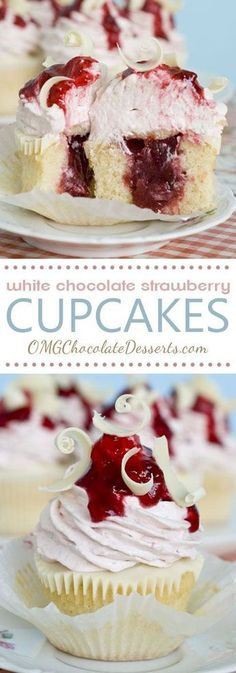 White chocolate Strawberry Cupcakes ~ Vanilla cupcakes with strawberry filling, topped with a layer of melted white chocolate and strawberry-white chocolate cream cheese frosting … absolutely delicious! Mini Desserts, Just Desserts, Delicious Desserts, Dessert Recipes, Delicious Chocolate, Summer Desserts, Plated Desserts, Healthy Desserts, Chocolate Strawberry Cupcakes