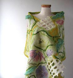Nuno felted scarf green wild flower pastel by galafilc on Etsy