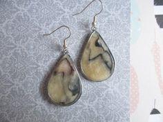 Handmade Stones - Black and Off-White Modekka Earrings - Free Shipping US